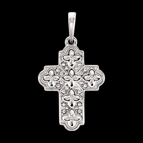 Platinum Flower Cross Pendant