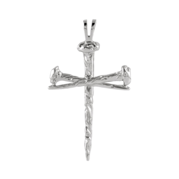 Platinum Large Nail Cross Pendant
