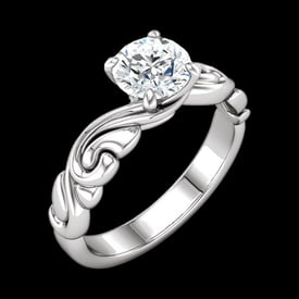 Platinum Sculptural Inspired Solitaire Engagement Ring