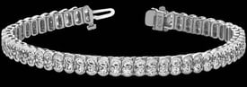 Platinum Oval Diamond Bracelet