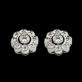 Platinum Dainty Diamond Earrings