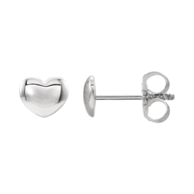 Platinum Youth Puffed Heart Earrings