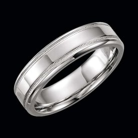 Platinum Milgrain Border Wedding Band