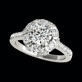 Platinum Enhanced Halo Engagement Ring