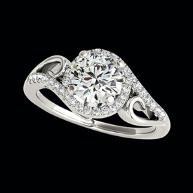 Platinum Gentle Swirl Diamond Semi Mount