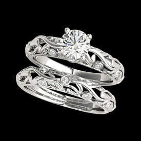 Platinum Open Floral Diamond Engagement Ring
