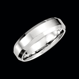 Platinum Beveled Edge Wedding Band