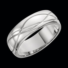 Platinum Grooved Design Band