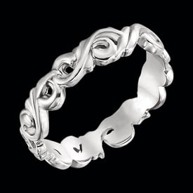 Platinum Sculptural Scroll Band