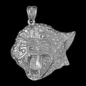 Platinum Big Cat Face Pendant
