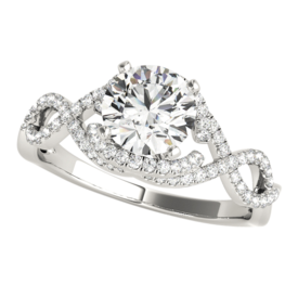 Platinum Diamond Delicate Braid Engagement Ring