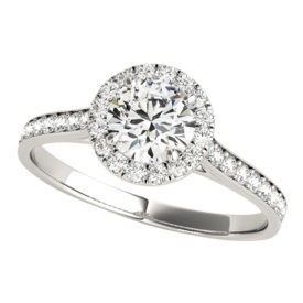 Platinum Captivating Diamond Halo Engagement Ring