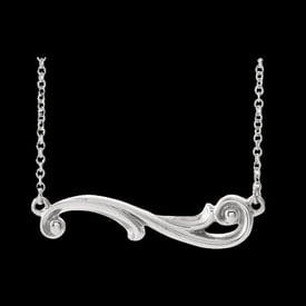 Platinum Sculptural Inspired Bar Necklace