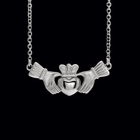 Platinum Claddagh Necklace