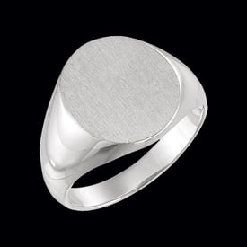 Men's Platinum Solid Oval Signet Ring