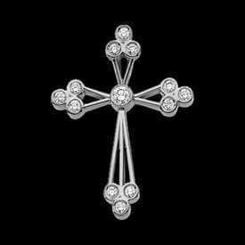 Platinum Trio Design Diamond Cross