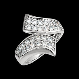 Platinum Bypass Diamond Ring