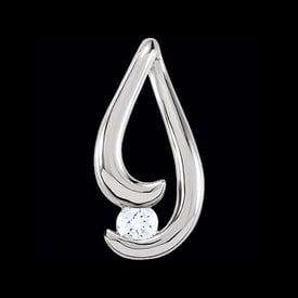 Freeform Platinum Diamond Cradled Pendant