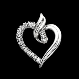 Fancy Platinum Diamond Heart Pendant