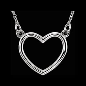 Platinum Open Heart Necklace