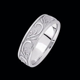 Platinum Hand Made Scroll Band
