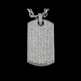 Platinum Diamond Dog Tag