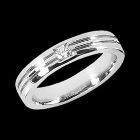 Platinum Grooved Band with Diamond Accent