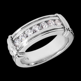 Platinum Boxed Shoulders Diamond Band