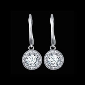 Diamond Drop Platinum Earrings