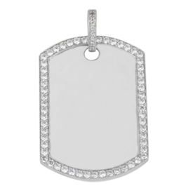 Diamond Border Dog Tag Pendant