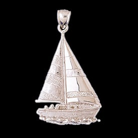 Platinum Sailing on Water Pendant