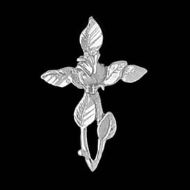 Platinum Rose Cross Pendant