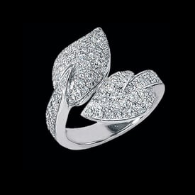 Platinum Leaves Diamond Ring