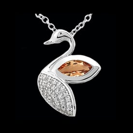 Platinum Diamond Swan Necklace
