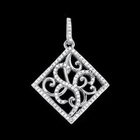 Platinum Diamond Scroll Pendant