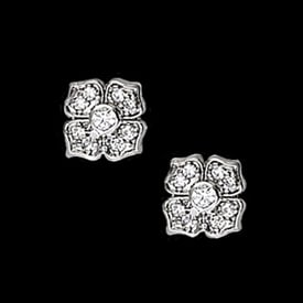 TR402M48 Platinum Diamond Flower Earrings