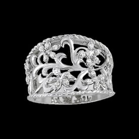 Platinum Diamond Floral Scroll Ring