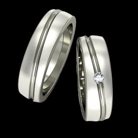 Groove Diamond Platinum Wedding Band