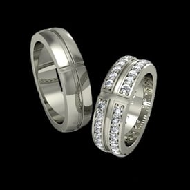 Double Diamond Platinum Wedding Band