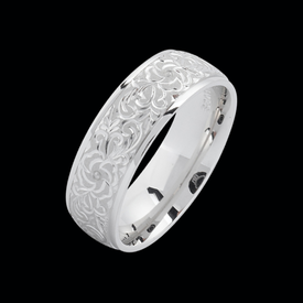 Platinum Fancy Hand Engraved Band