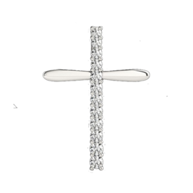 Platinum Modern Diamond Cross Pendant