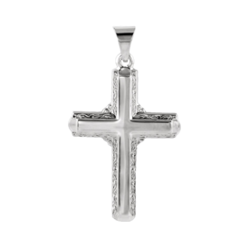 Platinum Scroll Edge Cross Pendant