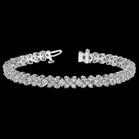 Platinum Flower Diamond Bracelet