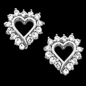 Platinum Diamond Heart Earrings