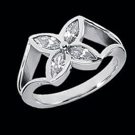 Platinum Diamond Flower Ring