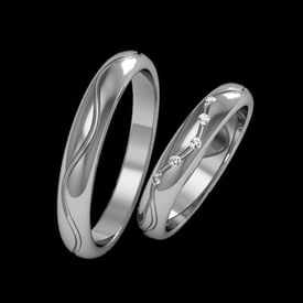Grooved Swirl Platinum Wedding Band