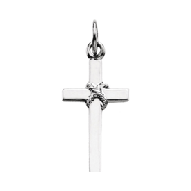 Platinum Dainty Rope Center Cross Pendant