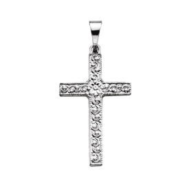Platinum Floral Design Cross Pendant