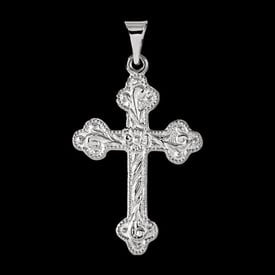 Floral Platinum Cross Pendant