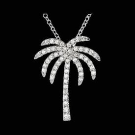 Platinum Diamond Palm Tree Necklace